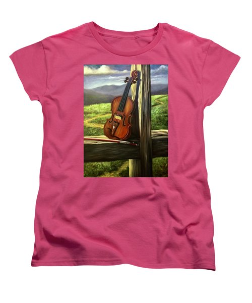 Women's T-Shirt (Standard Cut) featuring the painting Violin by Randol Burns