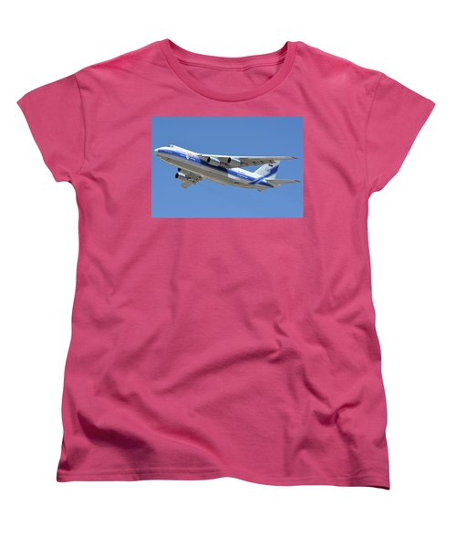 Women's T-Shirt (Standard Cut) featuring the photograph Volga-dnepr An-124 Ra-82068 Take-off Phoenix Sky Harbor June 15 2016 by Brian Lockett