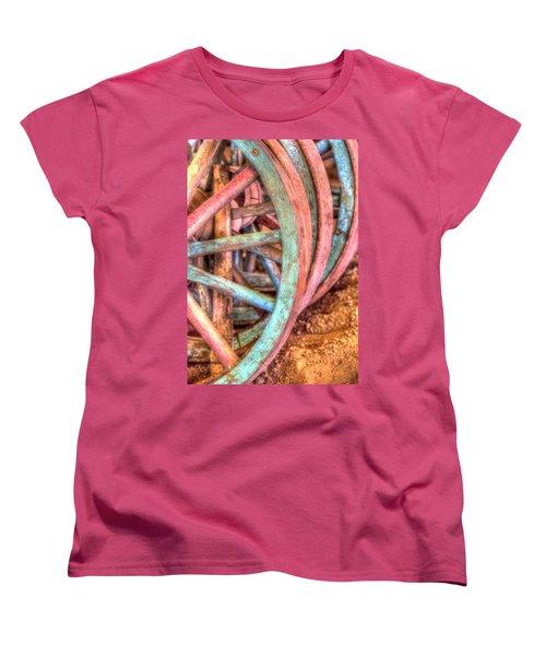Wagon Wheels Women's T-Shirt (Standard Cut) by Jerry Sodorff