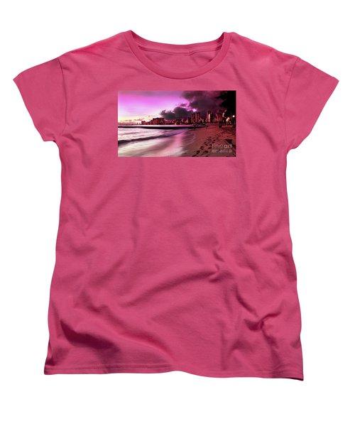 Women's T-Shirt (Standard Cut) featuring the photograph Waikiki Twilight by Kristine Merc