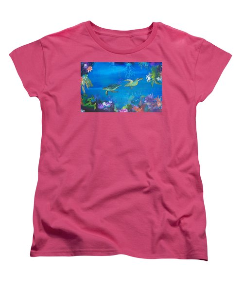 Women's T-Shirt (Standard Cut) featuring the painting Wait For Me by Lyn Olsen