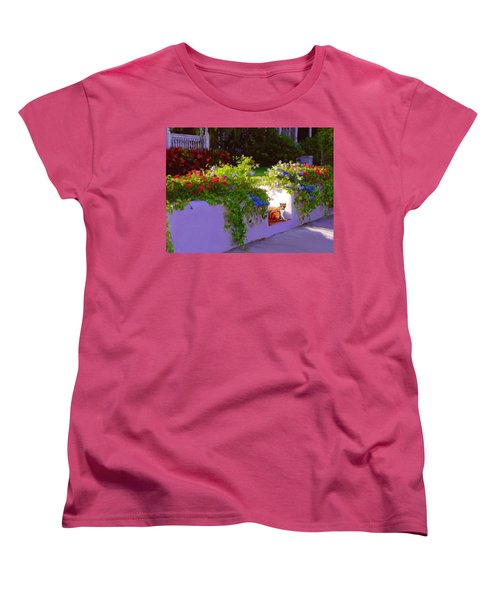 Women's T-Shirt (Standard Cut) featuring the painting Waiting For Friends by David  Van Hulst