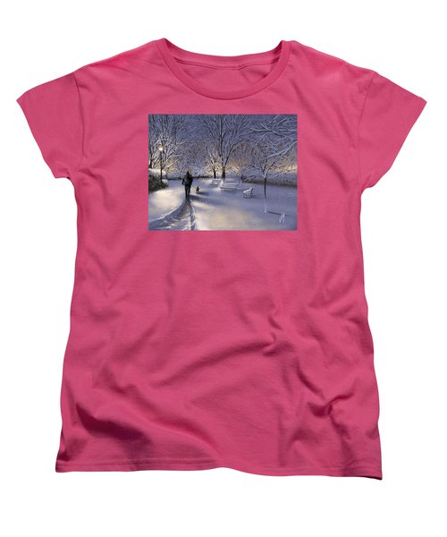 Women's T-Shirt (Standard Cut) featuring the painting Walking In The Snow by Veronica Minozzi