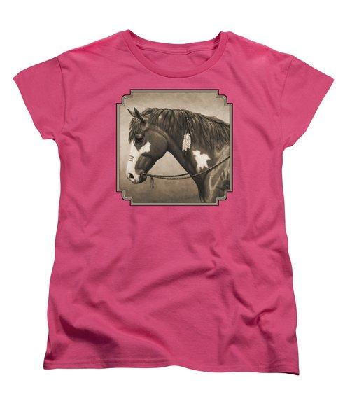 War Horse Aged Photo Fx Women's T-Shirt (Standard Cut) by Crista Forest