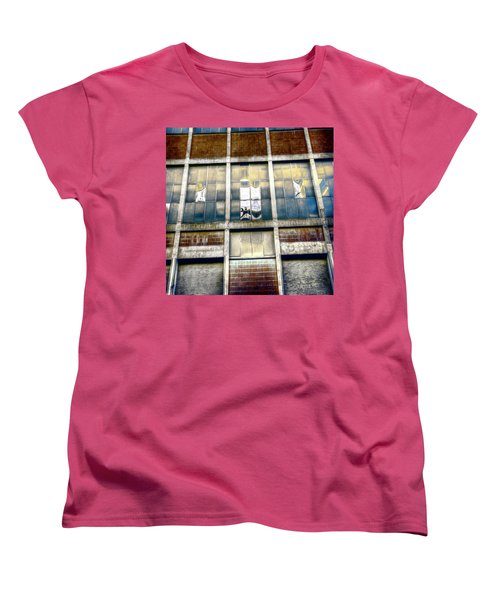 Women's T-Shirt (Standard Cut) featuring the photograph Warehouse Wall by Wayne Sherriff