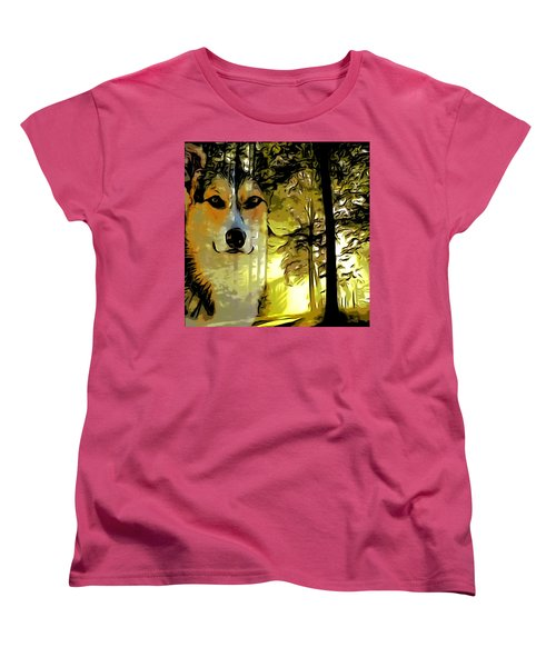 Women's T-Shirt (Standard Cut) featuring the digital art Watcher Of The Woods by Kathy Kelly