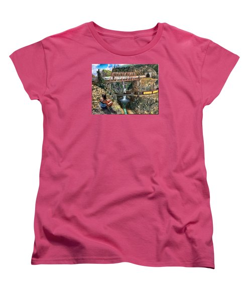 Women's T-Shirt (Standard Cut) featuring the painting Watching The World Go By by Michael Cleere