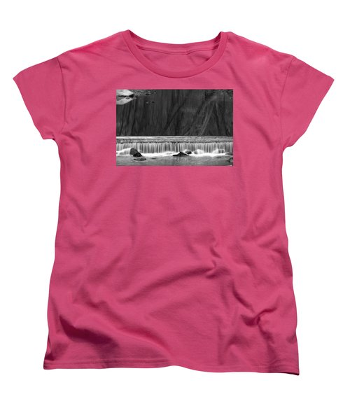 Women's T-Shirt (Standard Cut) featuring the photograph Water Fall In Black And White by Dorin Adrian Berbier