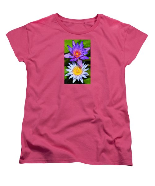 Women's T-Shirt (Standard Cut) featuring the photograph Water Lily Blossoms by Kerri Ligatich