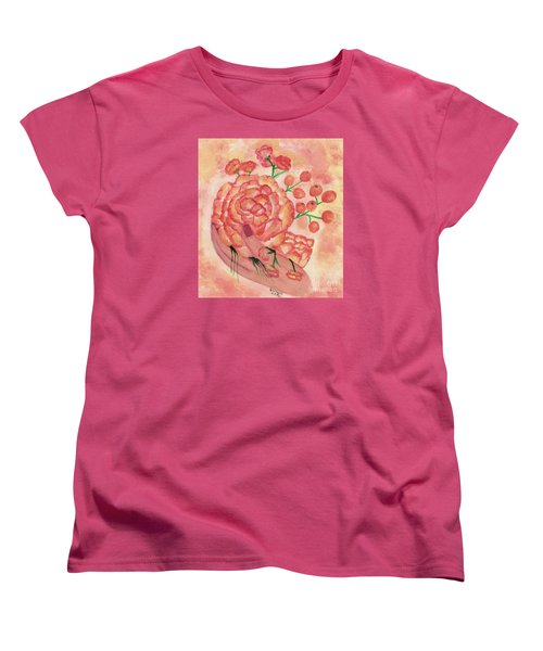 Women's T-Shirt (Standard Cut) featuring the painting watercolor painting, FRAGILE by Saribelle by Saribelle Rodriguez