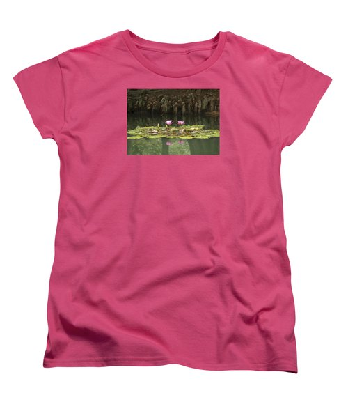 Women's T-Shirt (Standard Cut) featuring the photograph Waterlilies And Cyprus Knees by Linda Geiger
