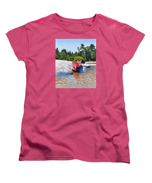Women's T-Shirt (Standard Cut) featuring the painting Waters Edge by Kenneth M Kirsch