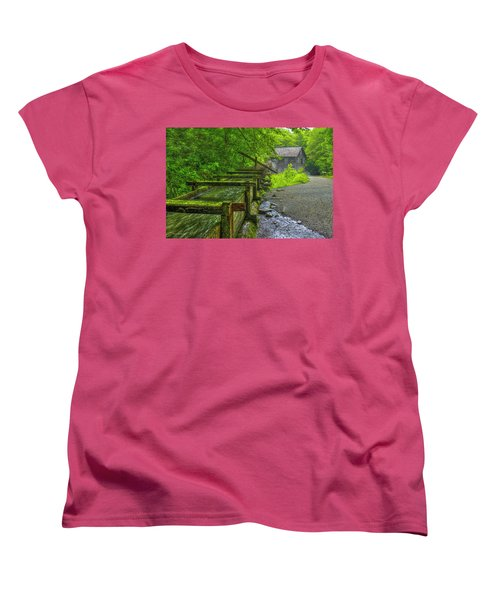 Women's T-Shirt (Standard Cut) featuring the photograph Waterworks Mingus Mill Mingus Creek Art  Great Smoky Mountains Art by Reid Callaway