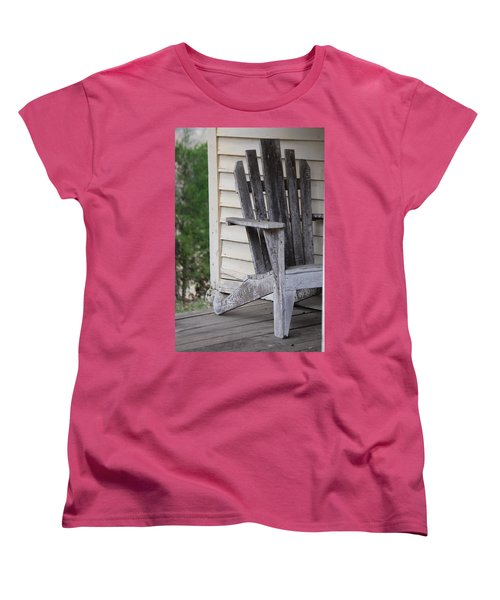 Women's T-Shirt (Standard Cut) featuring the photograph Weathered Porch Chair by Debbie Karnes