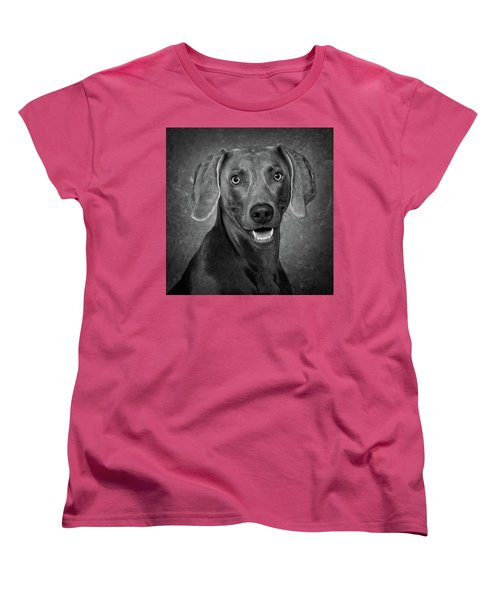 Women's T-Shirt (Standard Cut) featuring the photograph Weimaraner In Black And White by Greg Mimbs