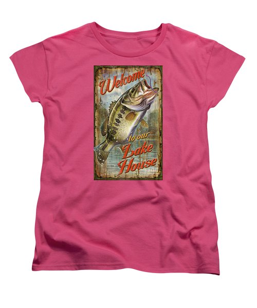Women's T-Shirt (Standard Cut) featuring the painting Welcome Lake House Sign by Jon Q Wright