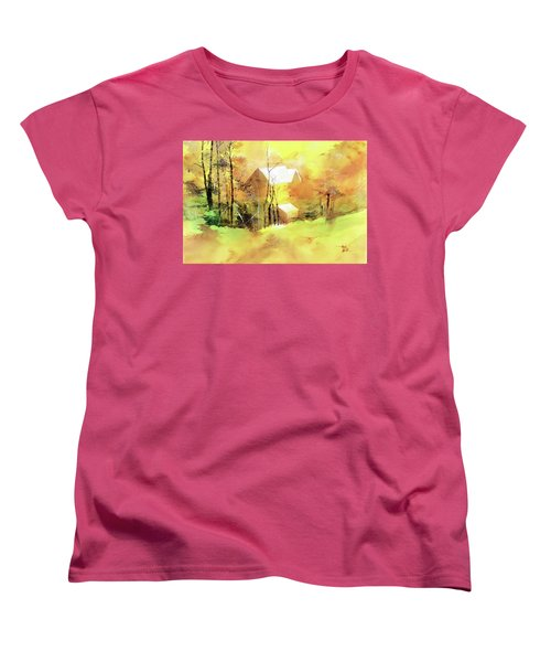 Women's T-Shirt (Standard Cut) featuring the painting Welcome Winter by Anil Nene