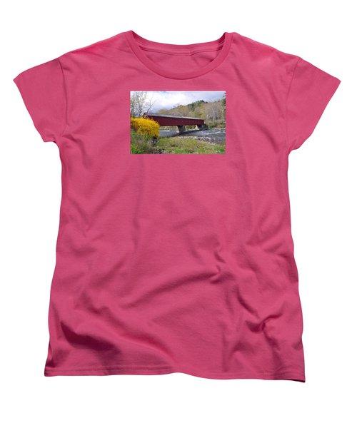 West Cornwall Ct Covered Bridge Women's T-Shirt (Standard Cut) by Glenn Gordon