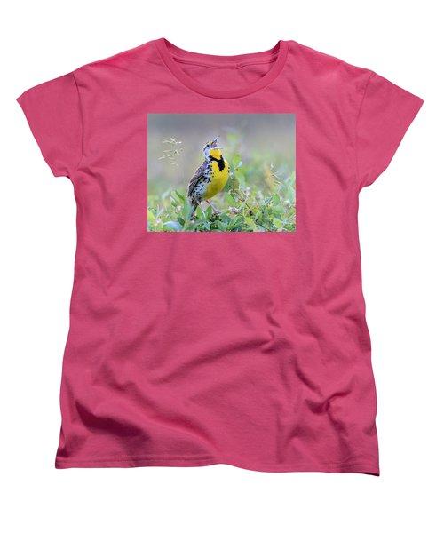 Western Meadowlark Women's T-Shirt (Standard Cut) by Jack Bell