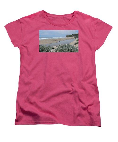 Where Scott Creek Meets The Ocean Women's T-Shirt (Standard Cut) by Mark Barclay