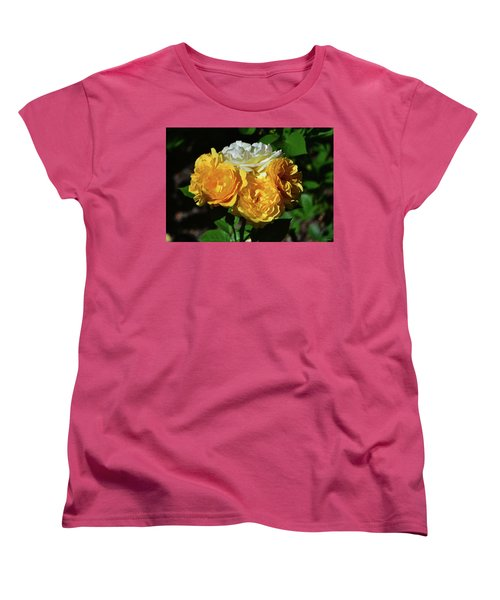 Women's T-Shirt (Standard Cut) featuring the photograph White And Yellow Rose Bouquet 001 by George Bostian