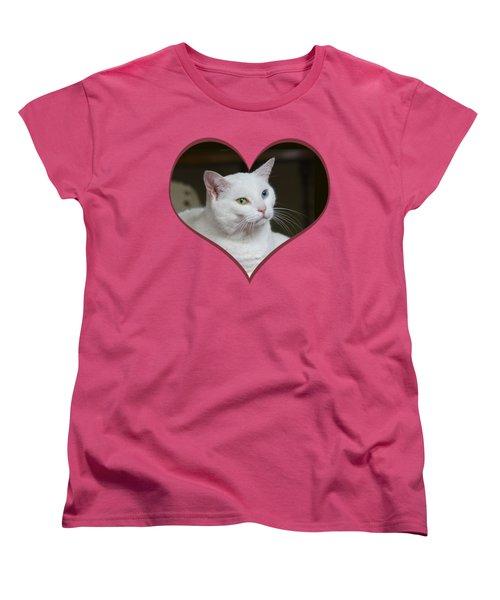 White Cat On A Transparent Heart Women's T-Shirt (Standard Cut) by Terri Waters