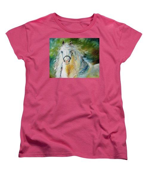 White Cloud The Andalusian Stallion Women's T-Shirt (Standard Cut) by Marcia Baldwin