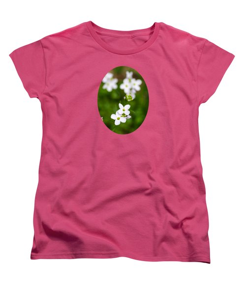 White Cuckoo Flowers Women's T-Shirt (Standard Cut) by Christina Rollo