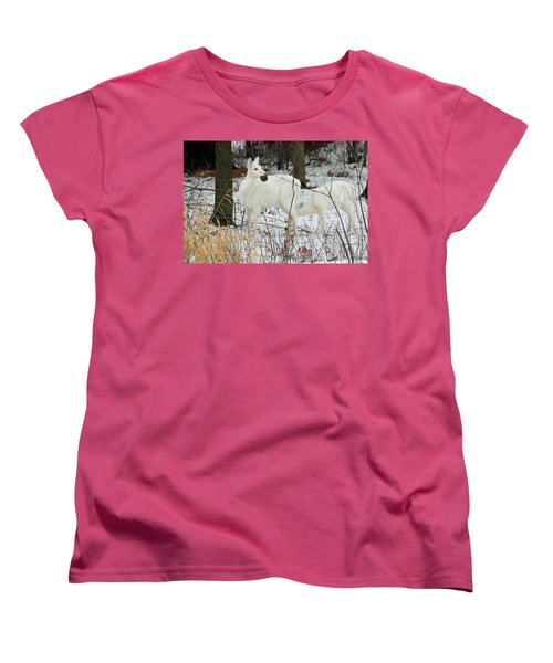 White Deer With Squash 2 Women's T-Shirt (Standard Cut) by Brook Burling
