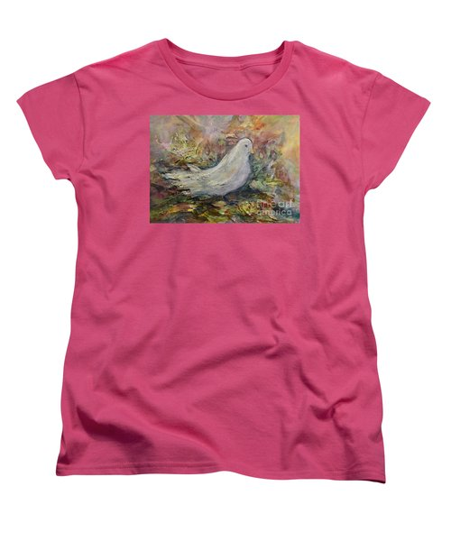 Women's T-Shirt (Standard Cut) featuring the painting White Dove by Ellen Anthony
