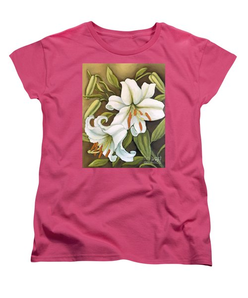Women's T-Shirt (Standard Cut) featuring the painting White Lilies by Inese Poga