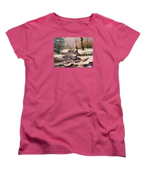 White Mountains Creek Women's T-Shirt (Standard Cut) by Larry Hamilton