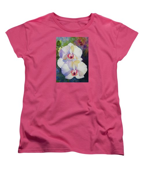 Women's T-Shirt (Standard Cut) featuring the painting White Orchids by Kerri Ligatich