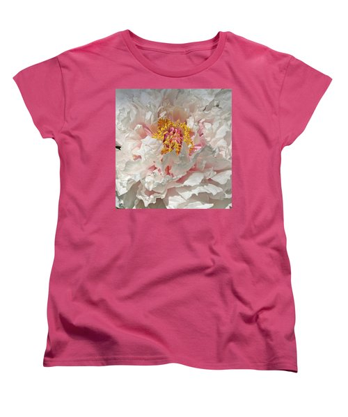 Women's T-Shirt (Standard Cut) featuring the photograph White Peony by Sandy Keeton