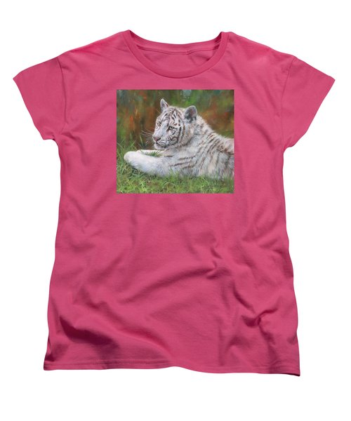 Women's T-Shirt (Standard Cut) featuring the painting White Tiger Cub 2 by David Stribbling
