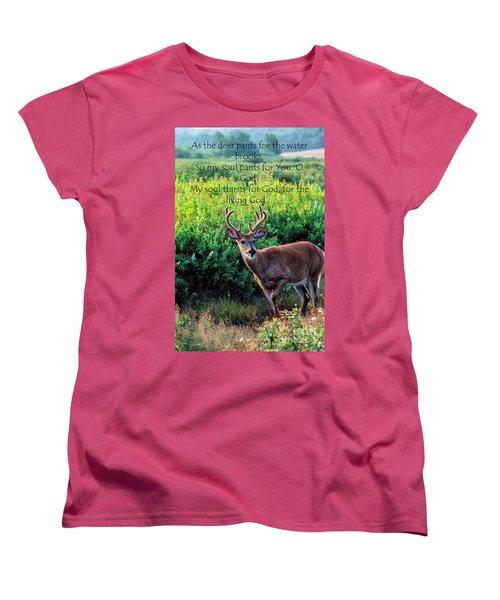 Women's T-Shirt (Standard Cut) featuring the photograph Whitetail Deer Panting by Thomas R Fletcher