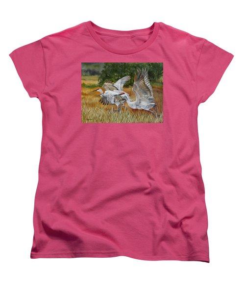 Sandhill Cranes In A Field Women's T-Shirt (Standard Cut) by Phyllis Beiser