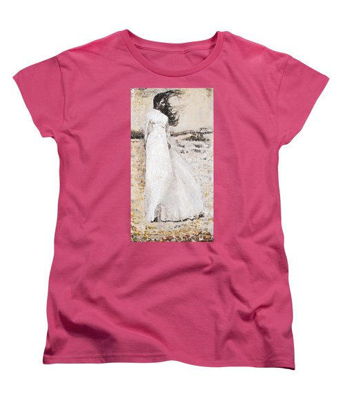 Women's T-Shirt (Standard Cut) featuring the painting Out On The Wiley Windy Moors by Jarko Aka Lui Grande