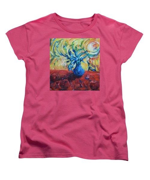 Women's T-Shirt (Standard Cut) featuring the painting Wild Flower by Yulia Kazansky