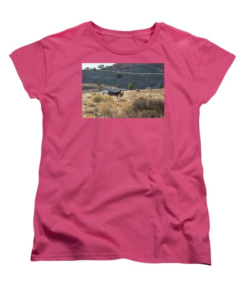 Women's T-Shirt (Standard Cut) featuring the photograph Wild Horses In Monument Valley by Jon Glaser