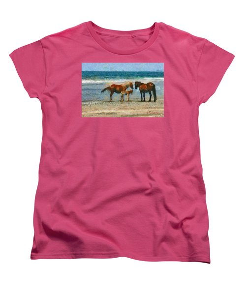 Wild Horses Of The Outer Banks Women's T-Shirt (Standard Cut) by Lynne Jenkins