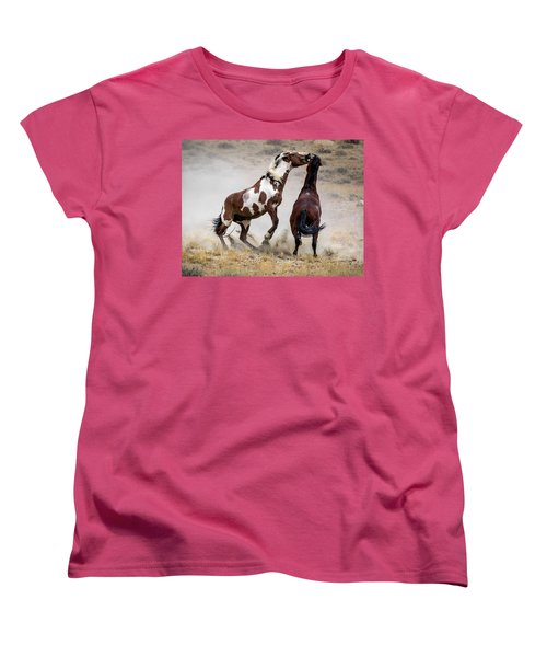 Wild Stallion Battle - Picasso And Dragon Women's T-Shirt (Standard Cut) by Nadja Rider