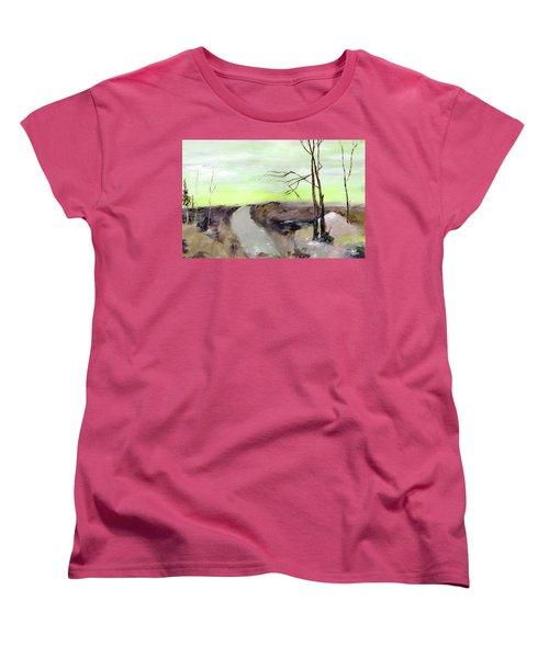 Women's T-Shirt (Standard Cut) featuring the painting Wilderness 2 by Anil Nene