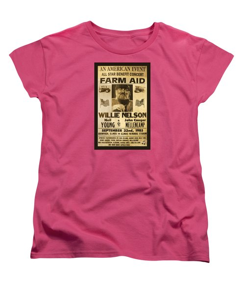 Willie Nelson Neil Young 1985 Farm Aid Poster Women's T-Shirt (Standard Cut) by John Stephens