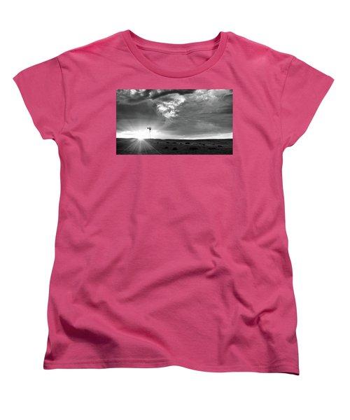 Windmill At Sunset Women's T-Shirt (Standard Cut) by Monte Stevens