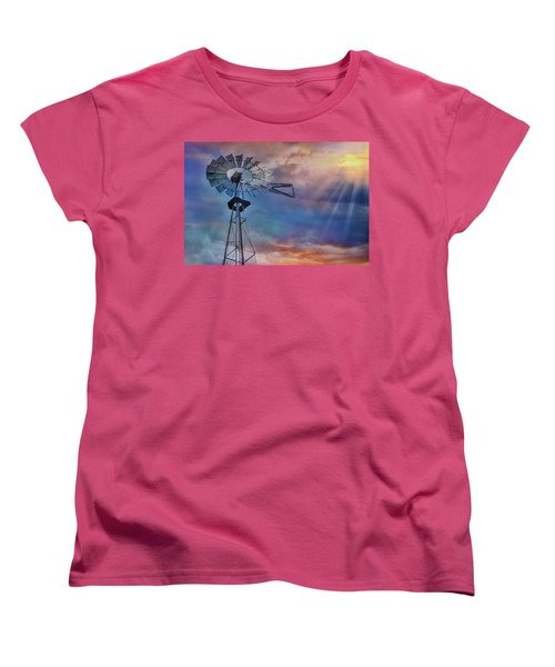 Women's T-Shirt (Standard Cut) featuring the photograph Windmill At Sunset by Susan Candelario