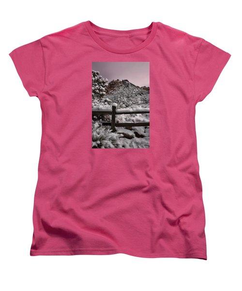 Women's T-Shirt (Standard Cut) featuring the photograph Winter At Garden Of The Gods by Ellen Heaverlo