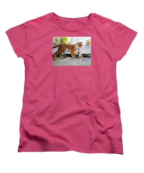 Women's T-Shirt (Standard Cut) featuring the painting Winter In The Zoo by Carol Grimes