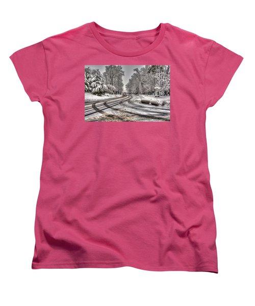 Tracks In The Snow Women's T-Shirt (Standard Cut) by Alex Galkin