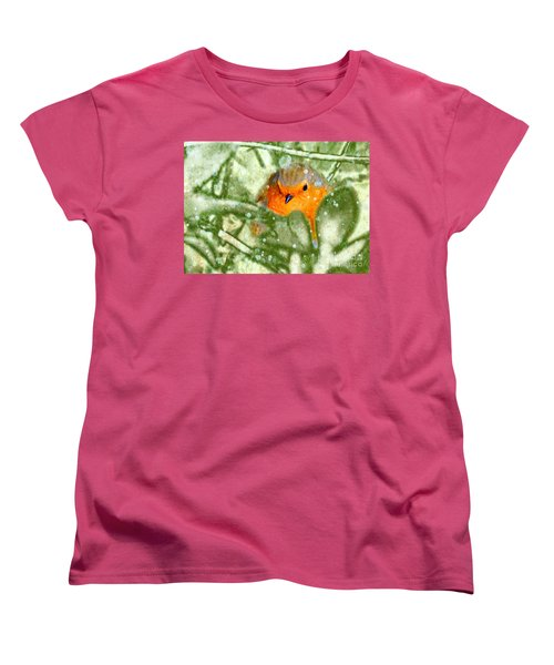 Women's T-Shirt (Standard Cut) featuring the photograph Winter Robin by LemonArt Photography